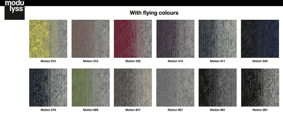 Los 12 colores de la colección Motion de modulyss